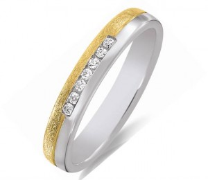 alliance diamants or jaune et blanc femme